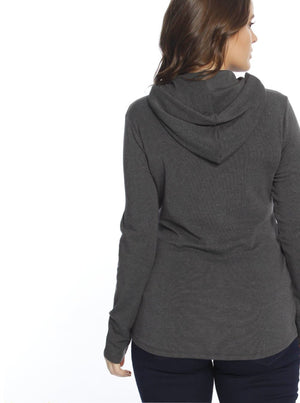 Nursing Hoodie Breastfeeding Jumper Top - Black