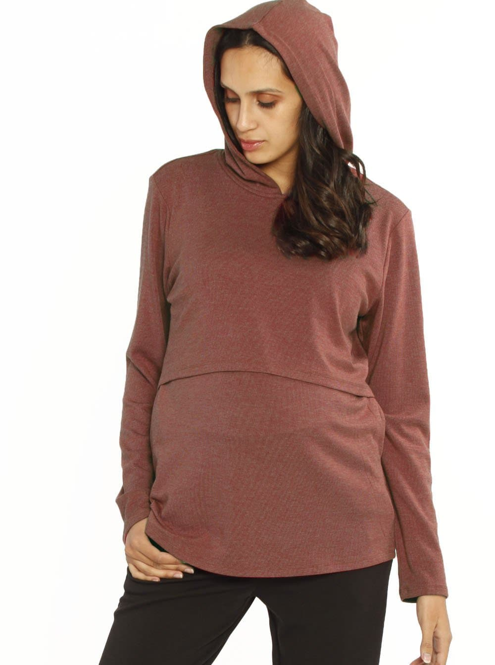 Nursing Hoodie Breastfeeding Top - Marl Red