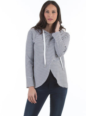 Maternity Petal Hem Hoodie Nursing Top - Stripes