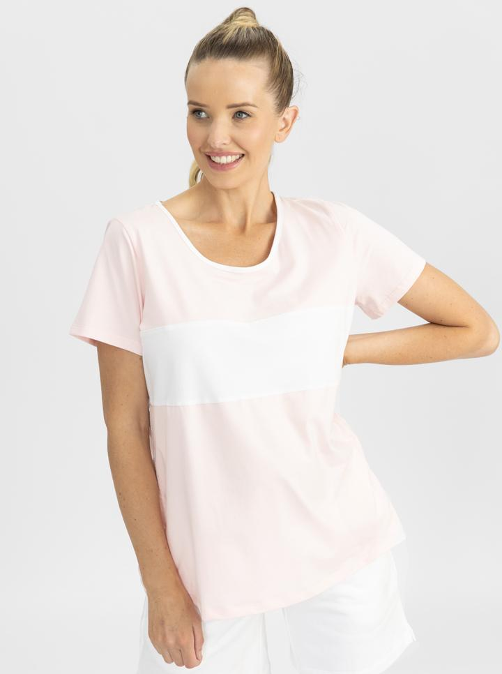 Copy of Maternity and Nursing T-Shirt in Pink and White