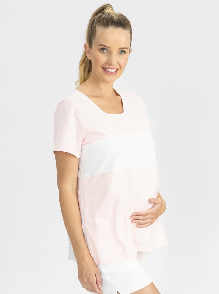 Copy of Maternity and Nursing T-Shirt in Pink and White side