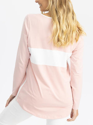 Maternity and Nursing Long Sleeve T-Shirt in Pink and White back