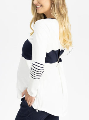 Maternity and Nursing Long Sleeve  T-Shirt in Navy and White