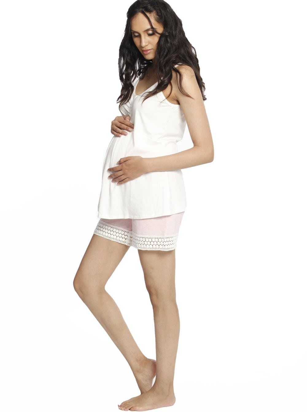 Summer Button Maternity & Nursing PJ Set - Pink/ Grey