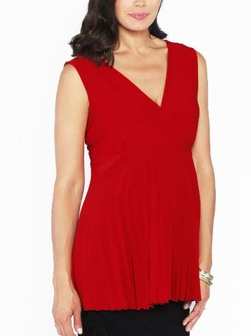 Maternity Mock Wrap Breastfeeding Dress - Red