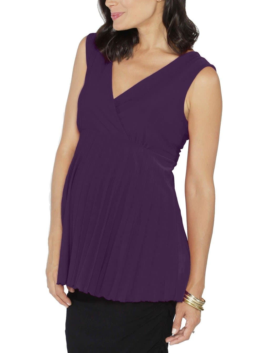 Maternity Crossover Soft Pleated Dressy Nursing Top - Purple - Angel Maternity - Maternity clothes - shop online