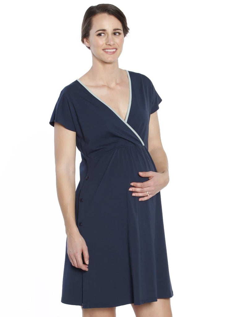 Hospital Birthing Gown/Night Dress with Nursing Access - Dark Navy - Angel Maternity - Maternity clothes - shop online