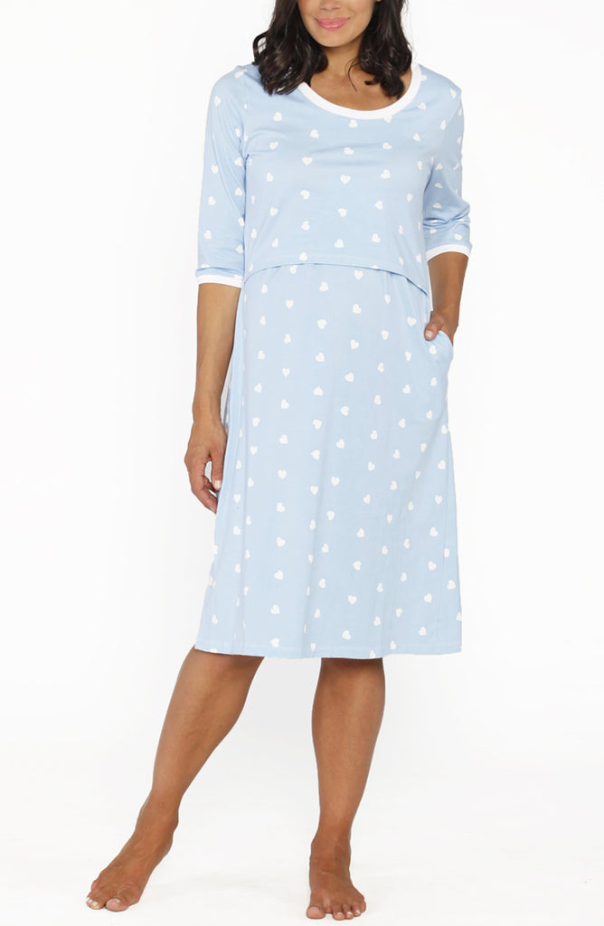 Hospital Birthing Gown with Nursing Access - Light Blue Hearts