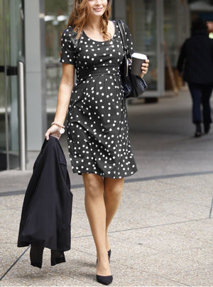 Breastfeeding Busy Mummy Nursing Dress in Black & White Dots - Angel Maternity - Maternity clothes - shop online