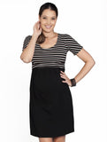 Breastfeeding Busy Mummy Cotton Nursing Dress in Black Stripes - Angel Maternity - Maternity clothes - shop online