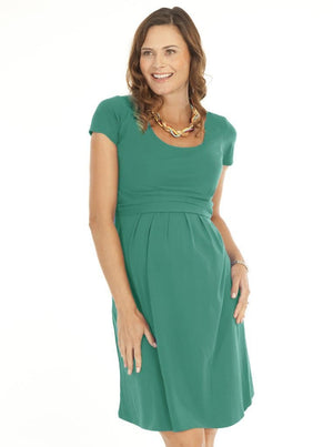 Busy Mummy Cotton Nursing Dress in Jade Green - Angel Maternity - Maternity clothes - shop online