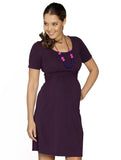 Busy Mummy Cotton Nursing Dress in Deep Violet - Angel Maternity - Maternity clothes - shop online