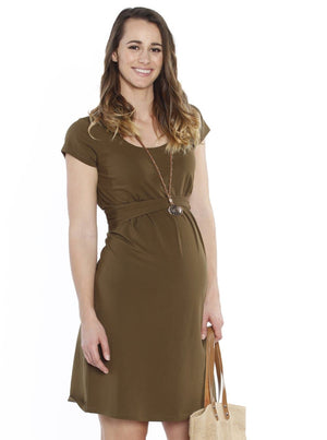 Busy Mummy Nursing Empire Waist Dress in Khaki - Angel Maternity - Maternity clothes - shop online