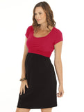 Breastfeeding Busy Mummy Cotton Nursing Dress in  Colour Block N8122L - Angel Maternity - Maternity clothes - shop online