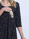 Maternity Busy Mummy Nursing Dress in Black Dots