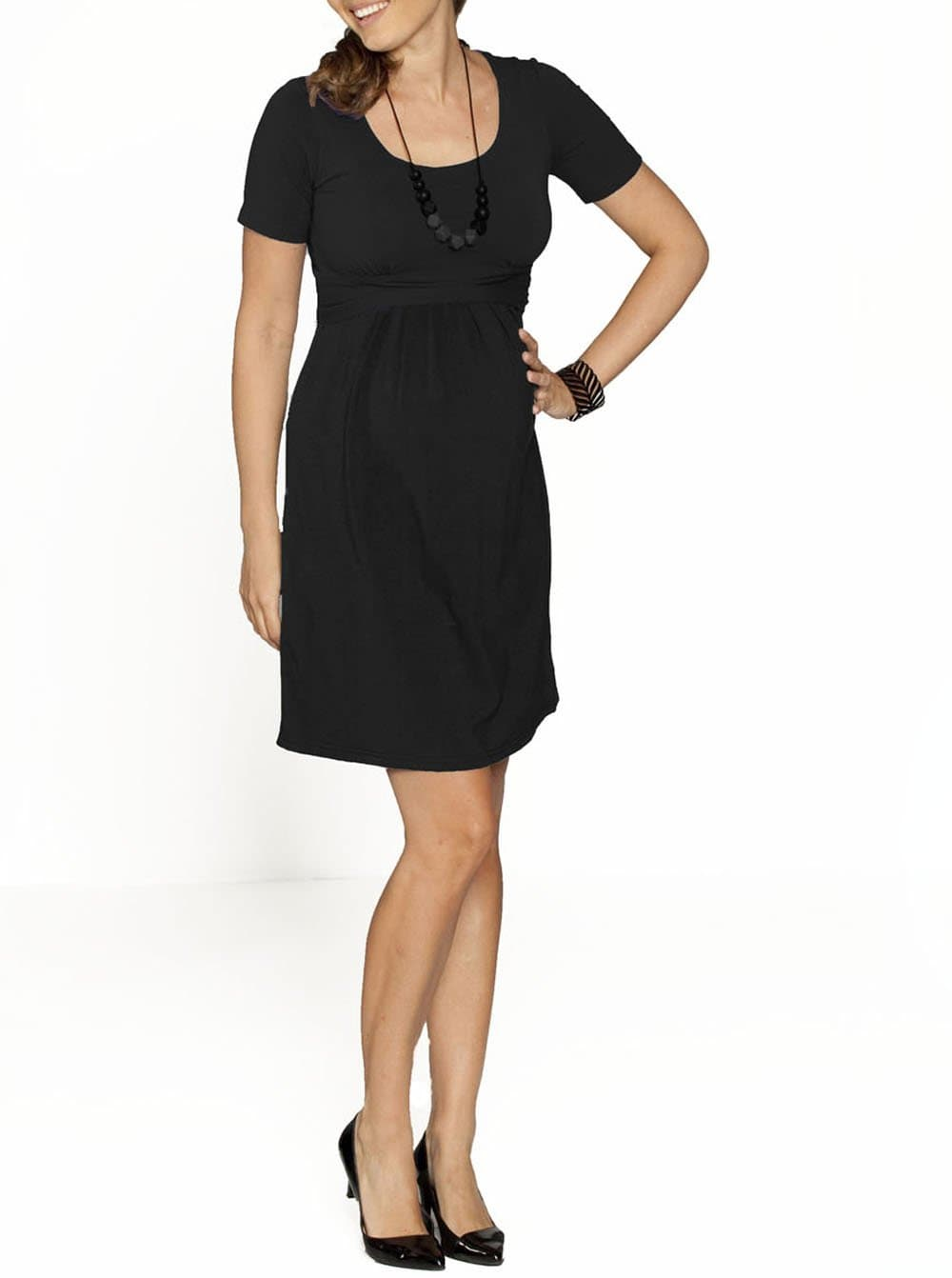 Busy Mummy Nursing Empire Waist Dress in Black - Angel Maternity - Maternity clothes - shop online