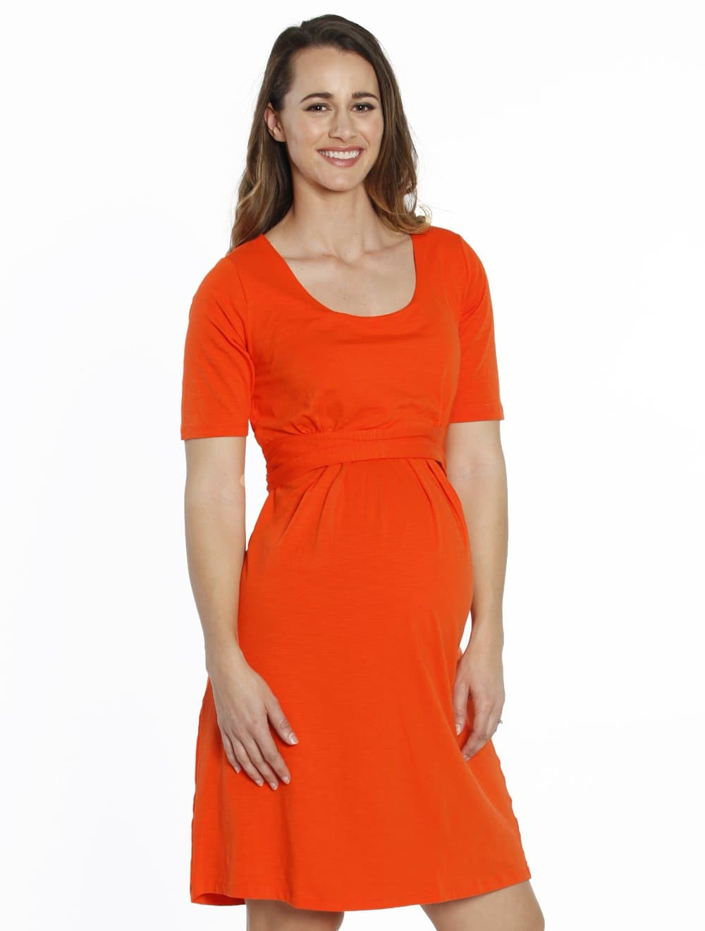 Busy Mummy Nursing Empire Waist Dress in Tangerine - Angel Maternity - Maternity clothes - shop online