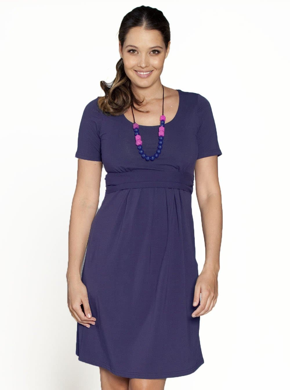 Busy Mummy Nursing Empire Waist Dress in Purple - Angel Maternity - Maternity clothes - shop online
