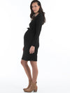 Maternity Button Front Nursing Knit Ribbed Dress - Black