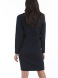 Maternity Button Front Nursing Knit Ribbed Dress - Navy