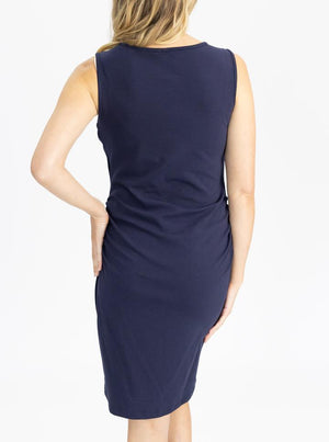Classic Cotton Nursing Tank Dress in Navy back