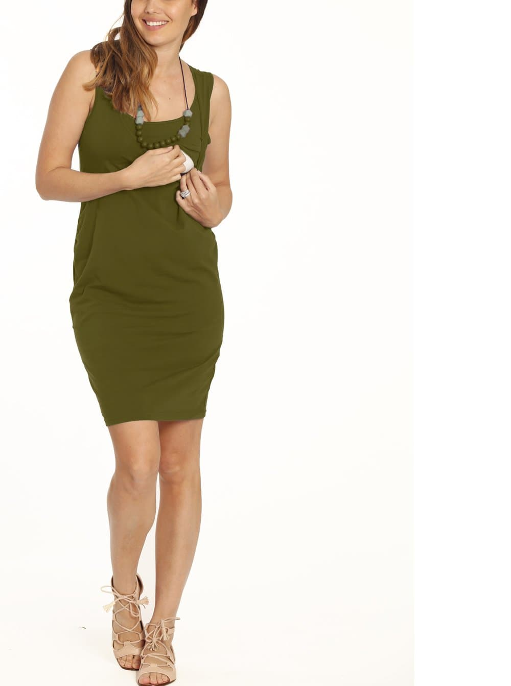 Breastfeeding Classic Nursing Tank Dress - Khaki - Angel Maternity - Maternity clothes - shop online