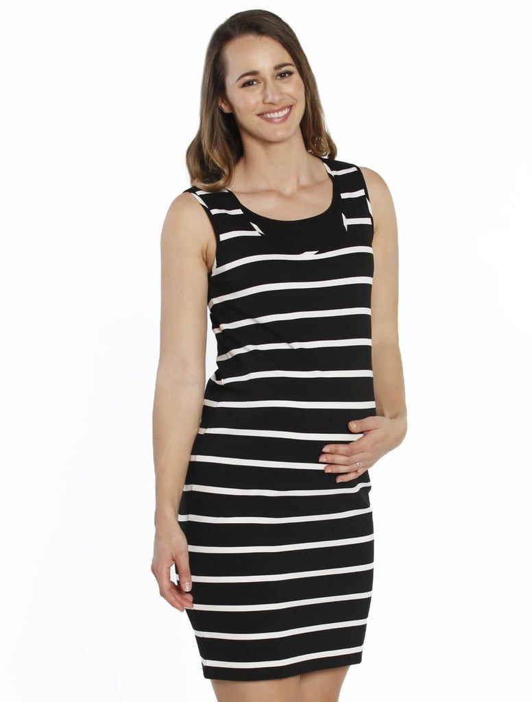 Breastfeeding Classic Nursing Tank Dress - Black & White Stripes - Angel Maternity - Maternity clothes - shop online