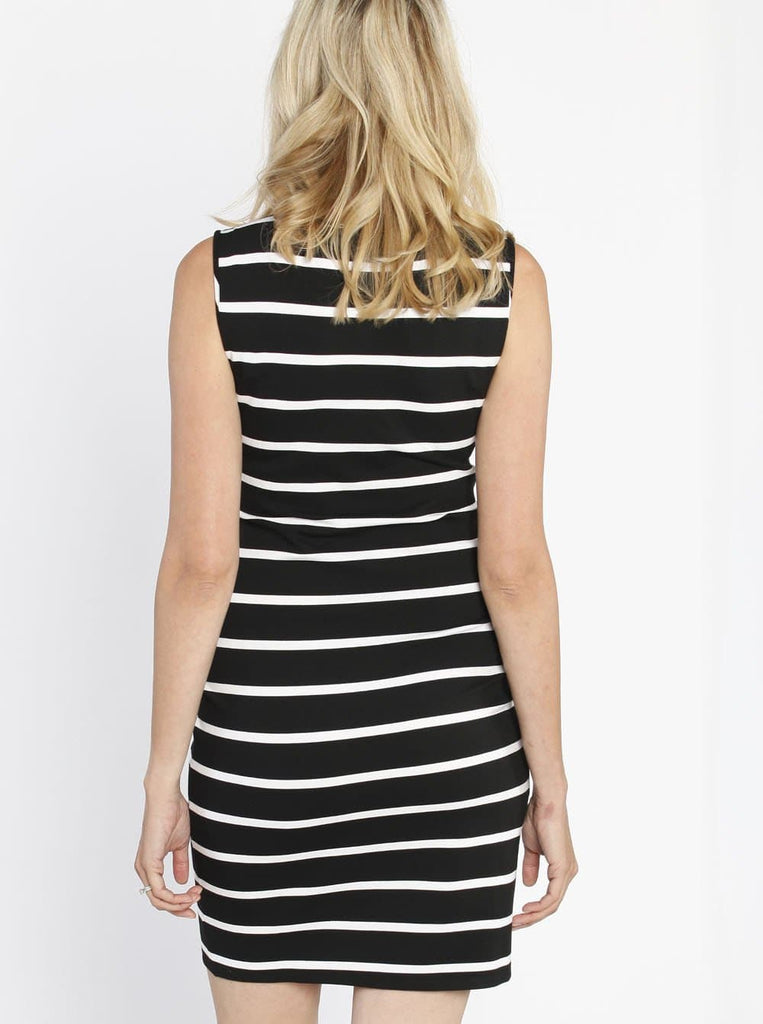 Breastfeeding Classic Nursing Tank Dress - Black & White Stripes