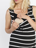 Breastfeeding Basic Nursing Tank Dress - Stripes opening