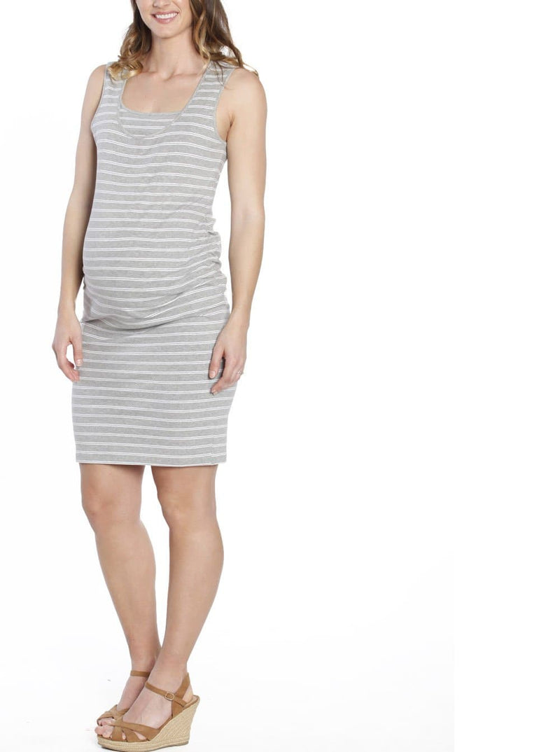 Breastfeeding Classic Nursing Tank Dress - Grey & White Stripes - Angel Maternity - Maternity clothes - shop online