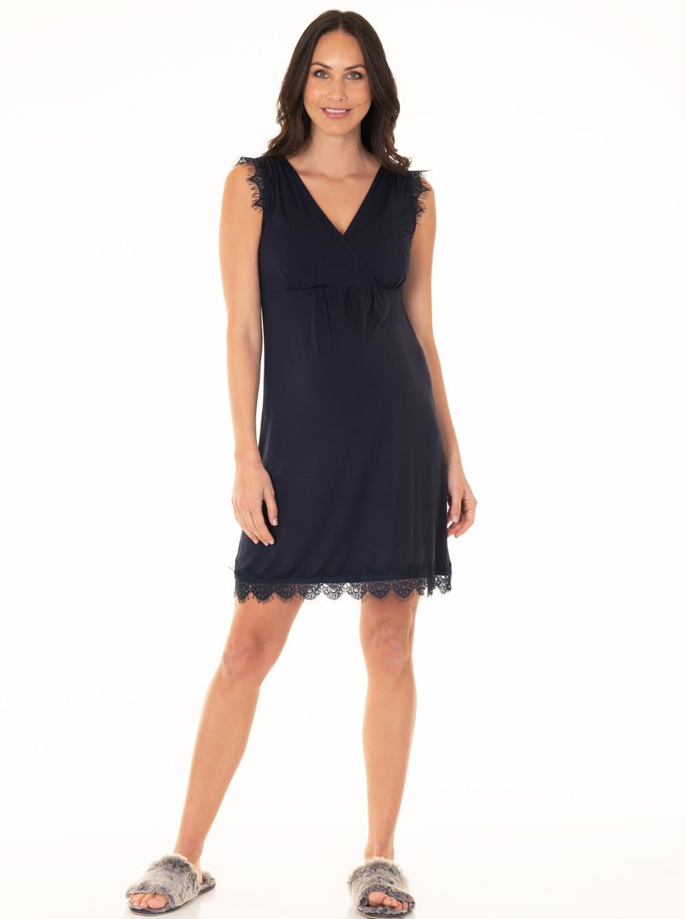 Maternity Nursing Sleep Lace Nightie Slinky Dress - Navy
