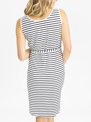 Maternity Button Front Drawstring Summer Dress - Stripes back
