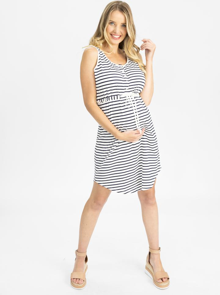 Maternity Button Front Drawstring Summer Dress - Stripes main