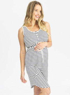 Maternity Button Front Drawstring Summer Dress - Stripes side