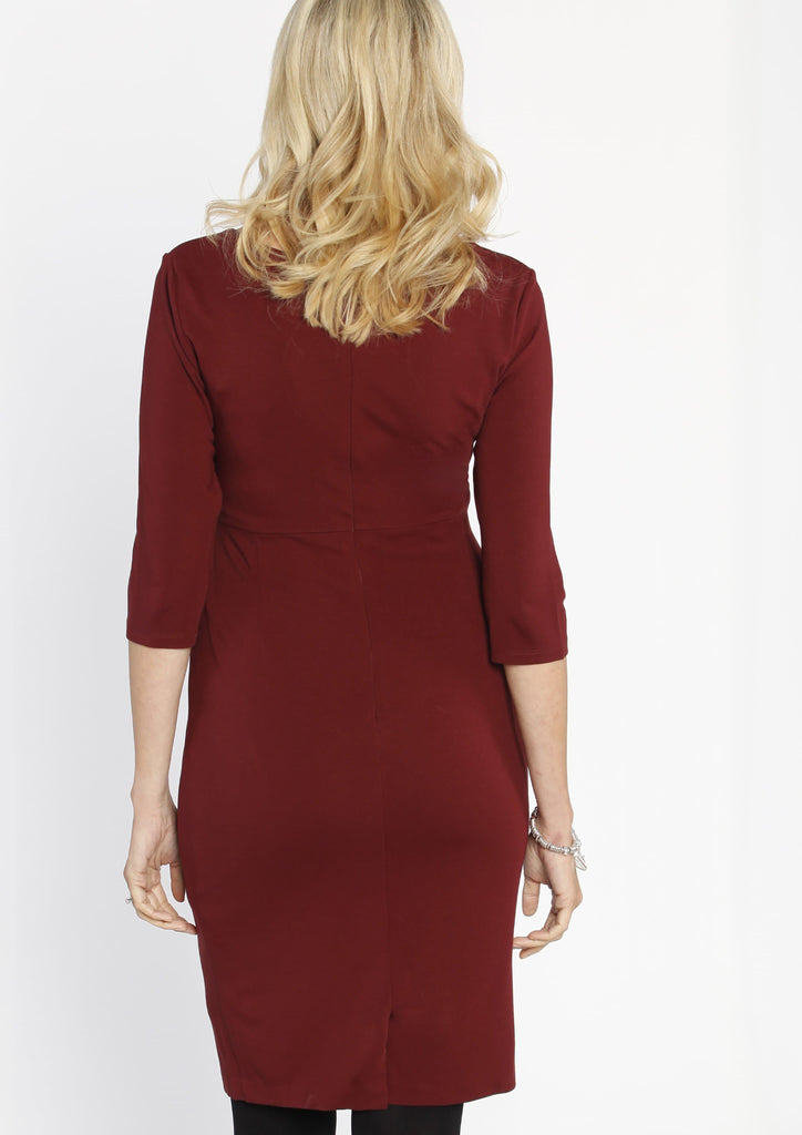 Breastfeeding Ponti Nursing Dress in Crimson Red - Angel Maternity - Maternity clothes - shop online
