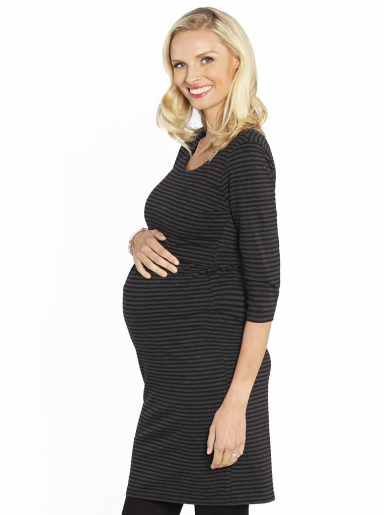 Breastfeeding Ponti Nursing Dress in Grey & Black Stripes