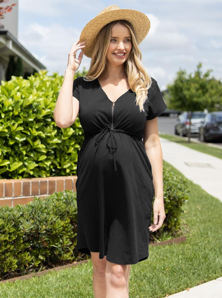 Black Maternity Dress with Zipper front