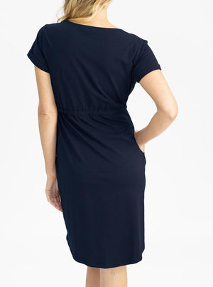 Maternity & Nursing Zipper Drawstring Dress in Navy back