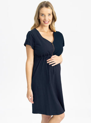 Maternity & Nursing Zipper Drawstring Dress in Navyside