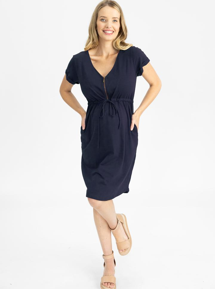 Maternity & Nursing Zipper Drawstring Dress in Navy front