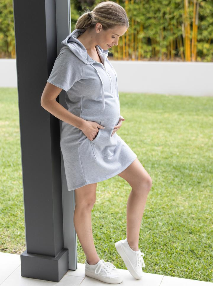 Maternity and Nursing Jumper Hoodie Dress