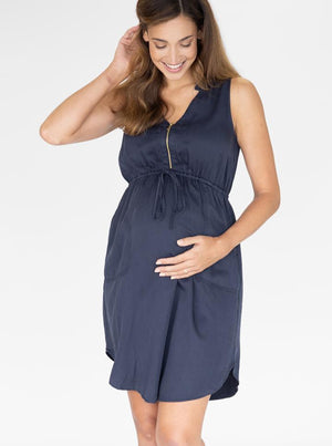 Maternity and Nursing Tencil Dress in Navy
