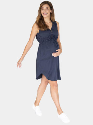Maternity and Nursing Tencil Dress in Navy front