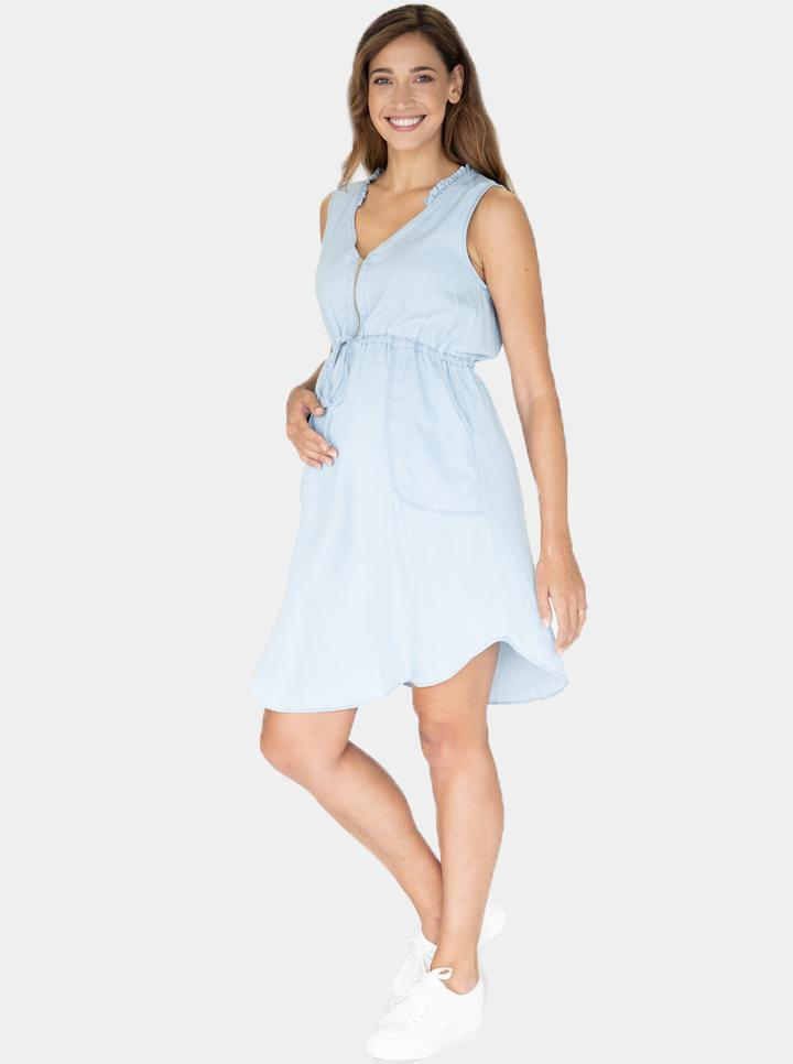 Maternity and Nursing Denim Wash Dress
