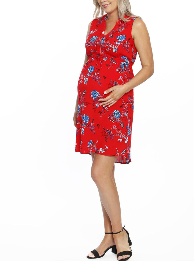 Maternity Tunic Drawstring Nursing Dress - Red Floral Print