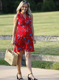 Maternity Tunic Drawstring Nursing Dress - Red Floral Print australia pregnancy clothing