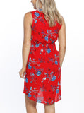 Maternity Tunic Drawstring Nursing Dress - Red Floral Print back - sydney online store