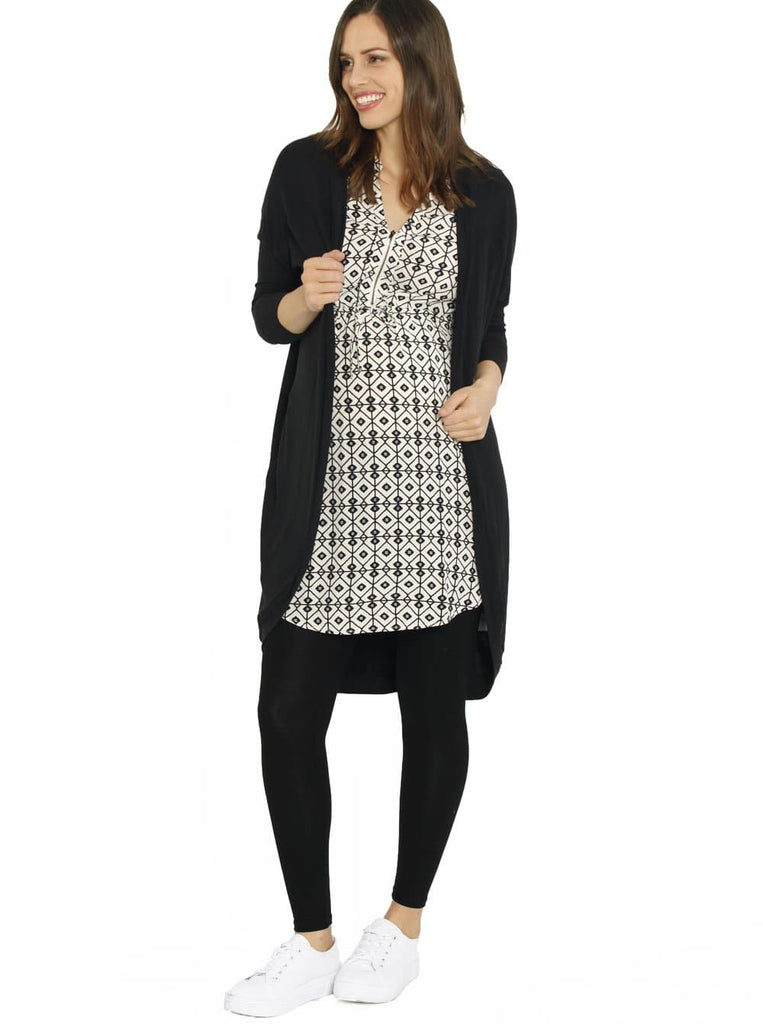 Maternity Long Tunic Drawstring Nursing Top - White & Black Print