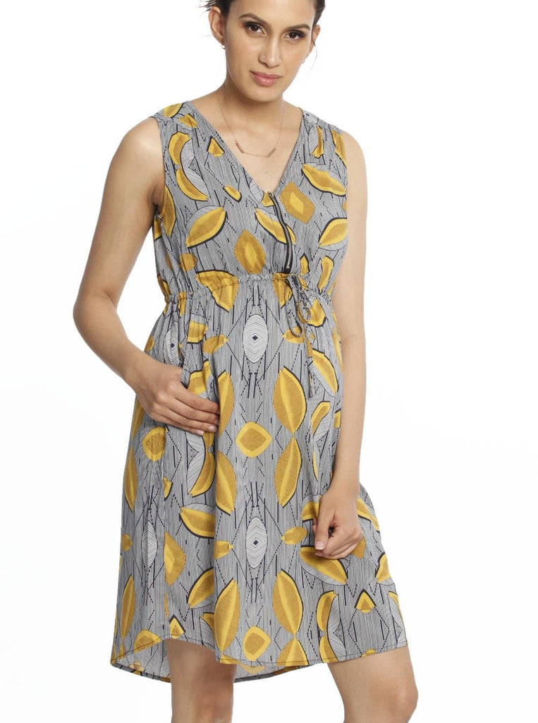 Maternity Tunic Drawstring Nursing Dress - Tribal Print maternity online store australia