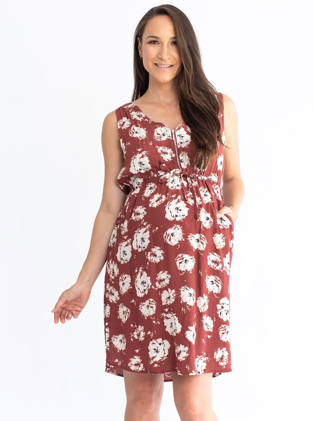 Maternity Tunic Drawstring Nursing Dress - Red Earth Print